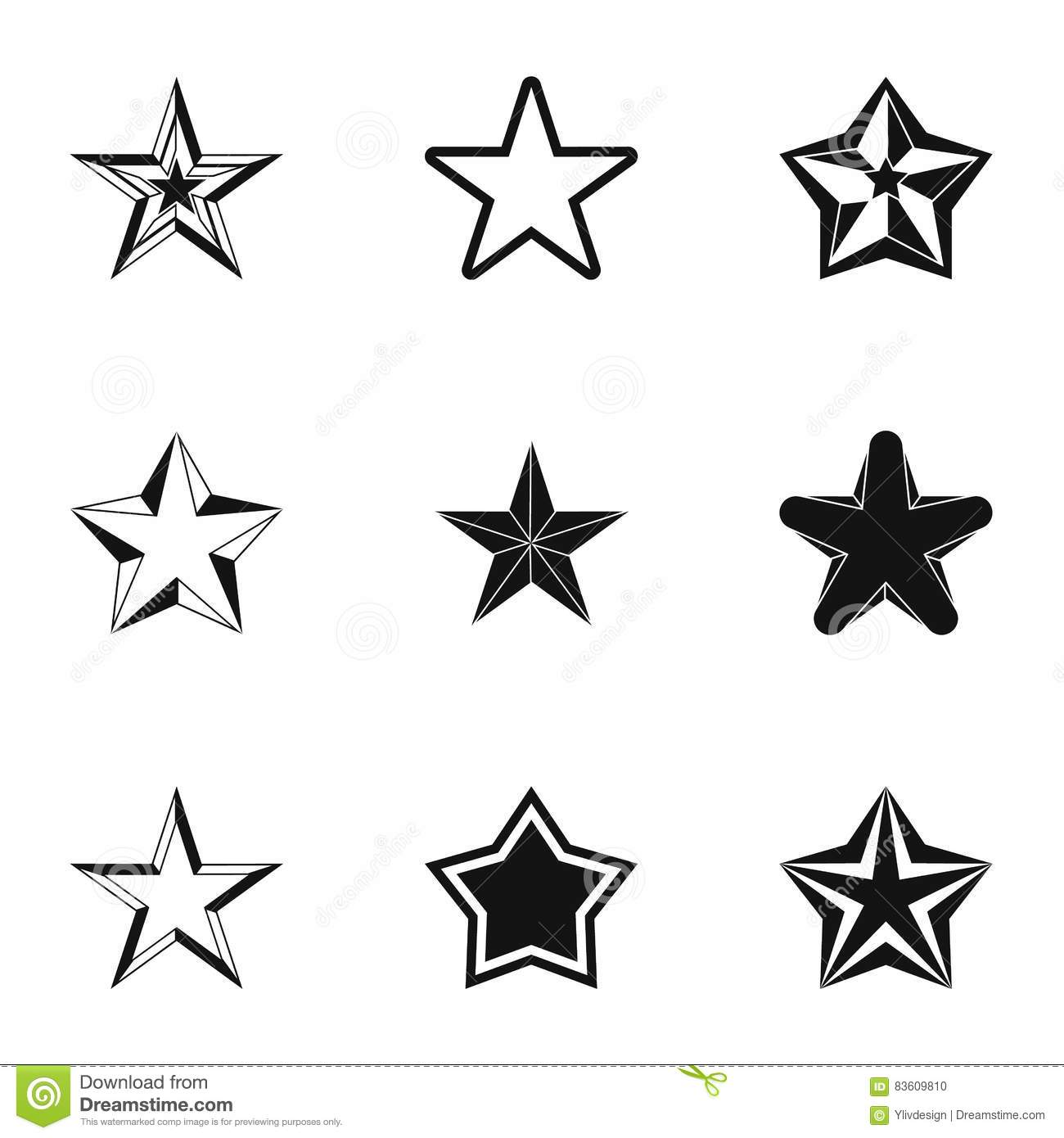 Types Of Stars Icons Set Simple Style Stock Vector Illustration