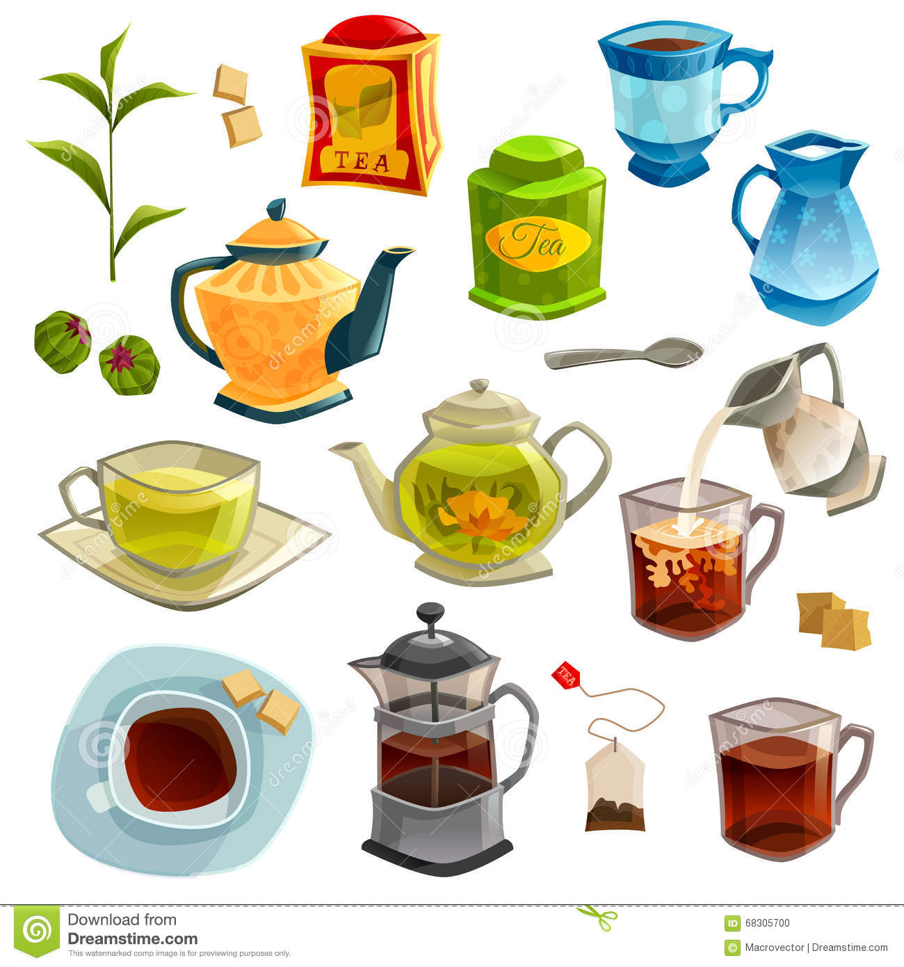 Types Of Tea Set Stock Vector Illustration Of Herbal 68305700