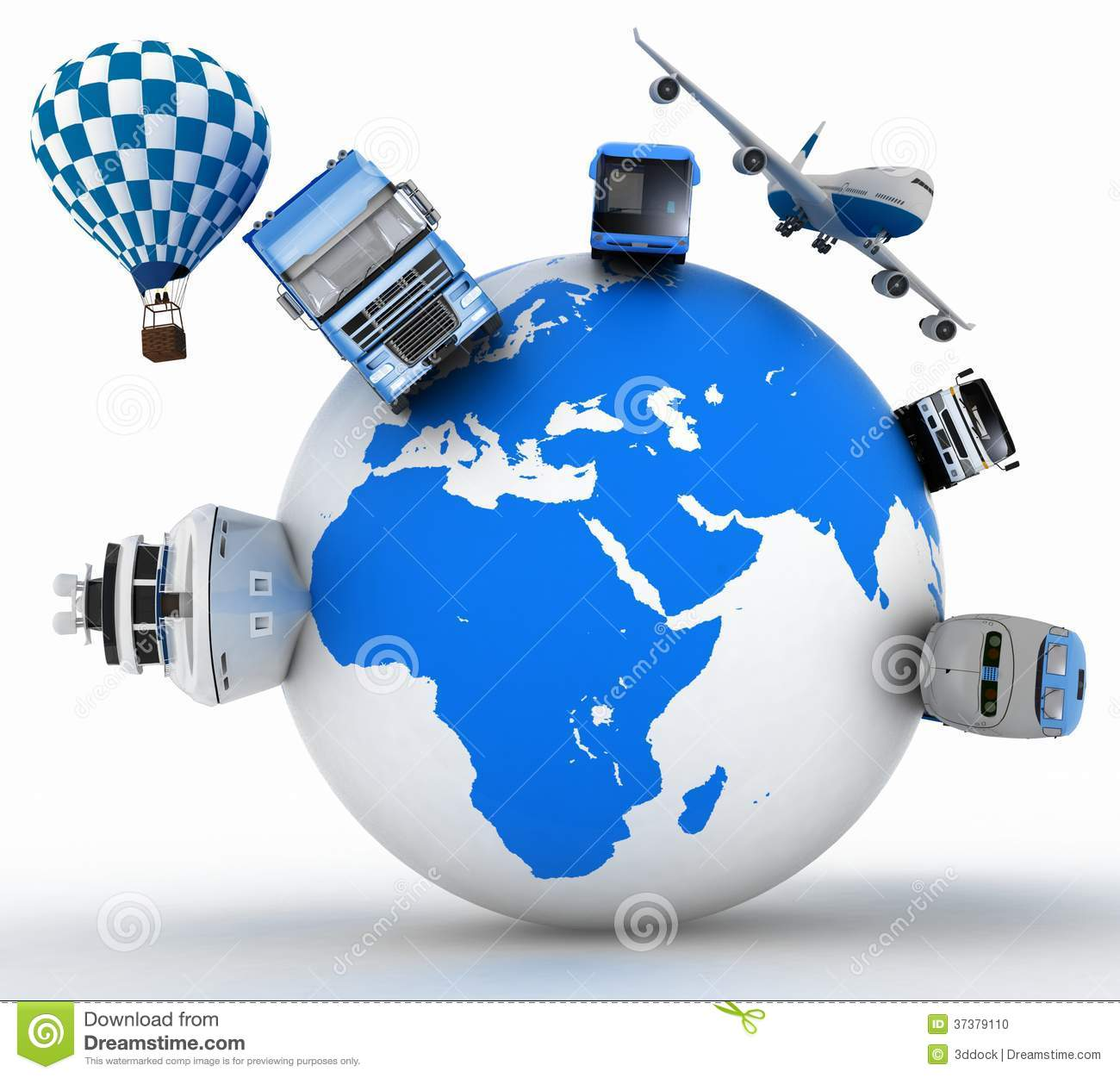 Types Of Transport On A Globe Concept Of International