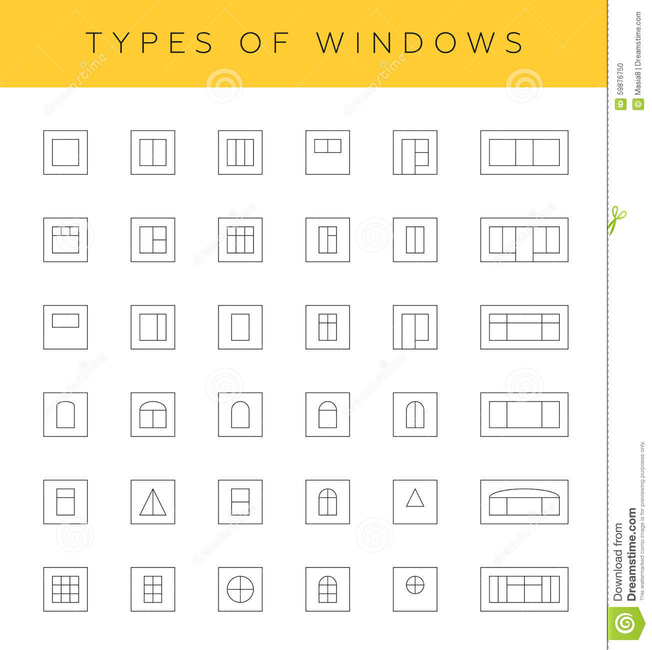 Types of windows stock illustration image 59876750 for Types of windows