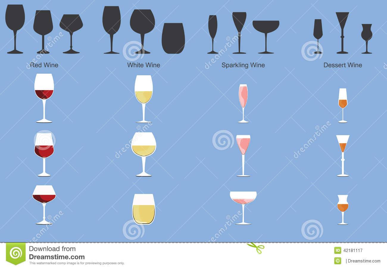 5cc9111348f2 Types of Wine and Glasses stock vector. Illustration of shop - 42181117
