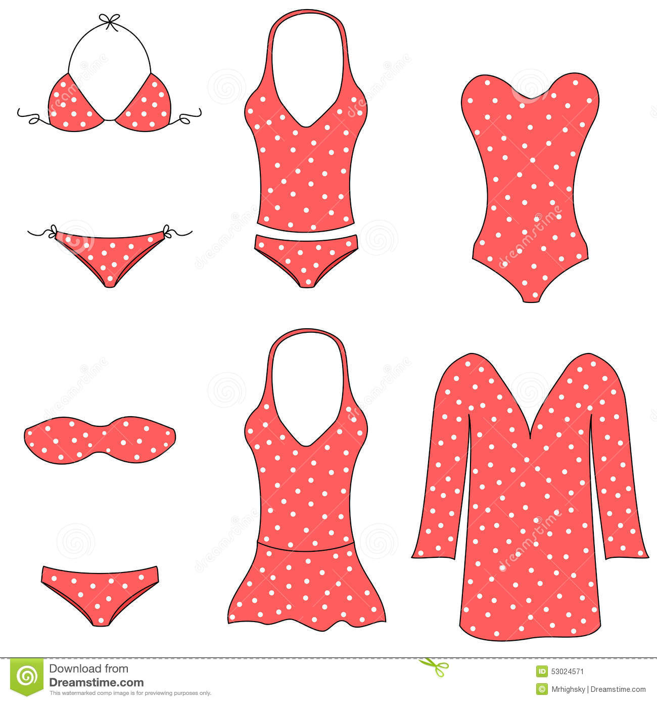 Types of women swimwear stock vector. Image of shapes ...