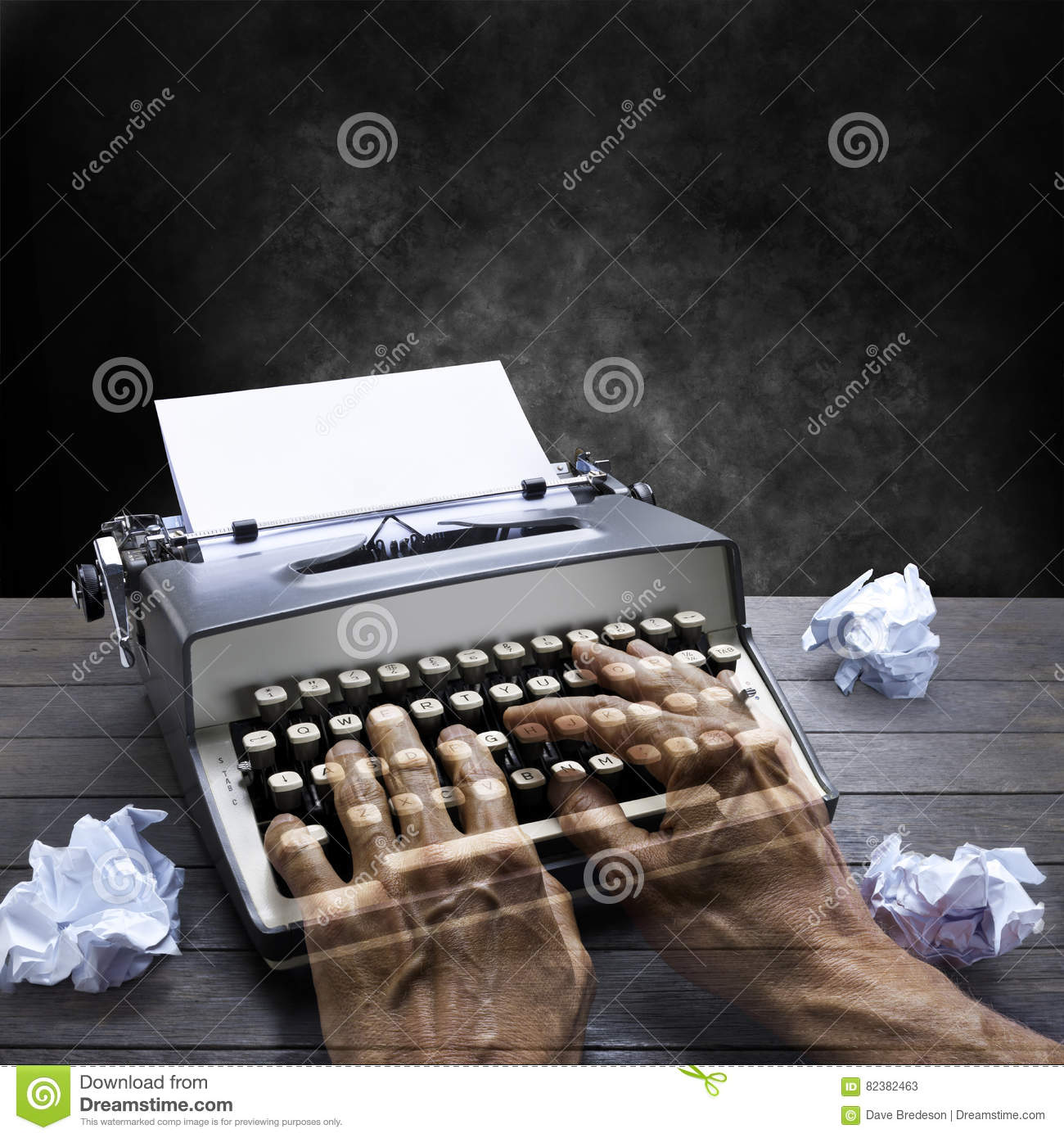 Typewriter Author Hands Business Time