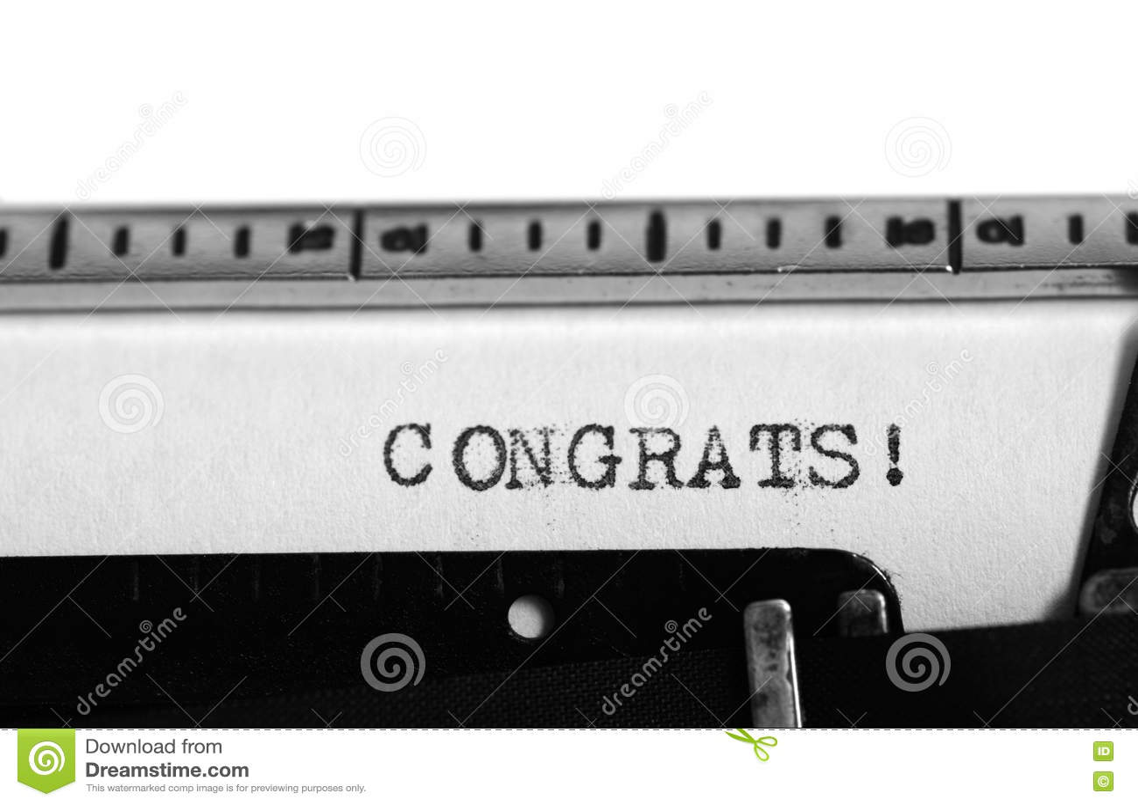 Typewriter. Typing Text: Congrats ! Stock Photo - Image of ...