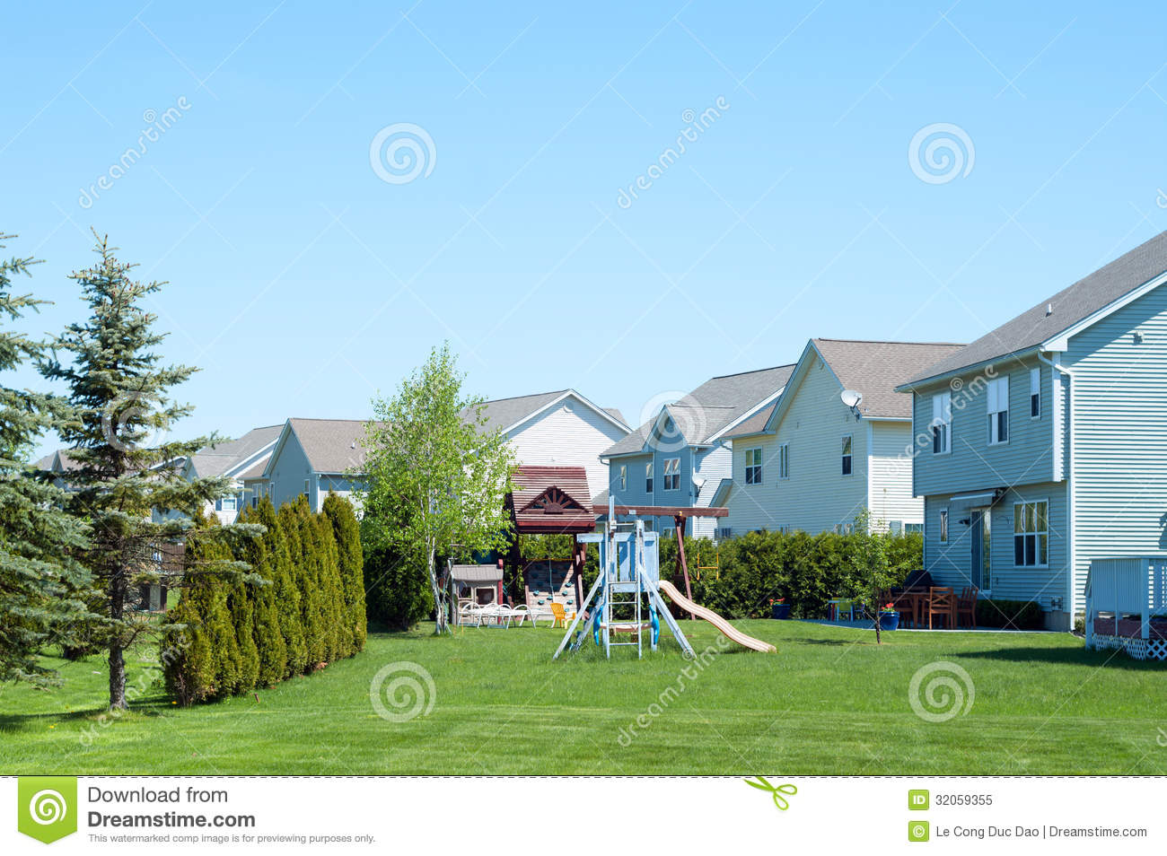 typical american backyard with child playground royalty free stock