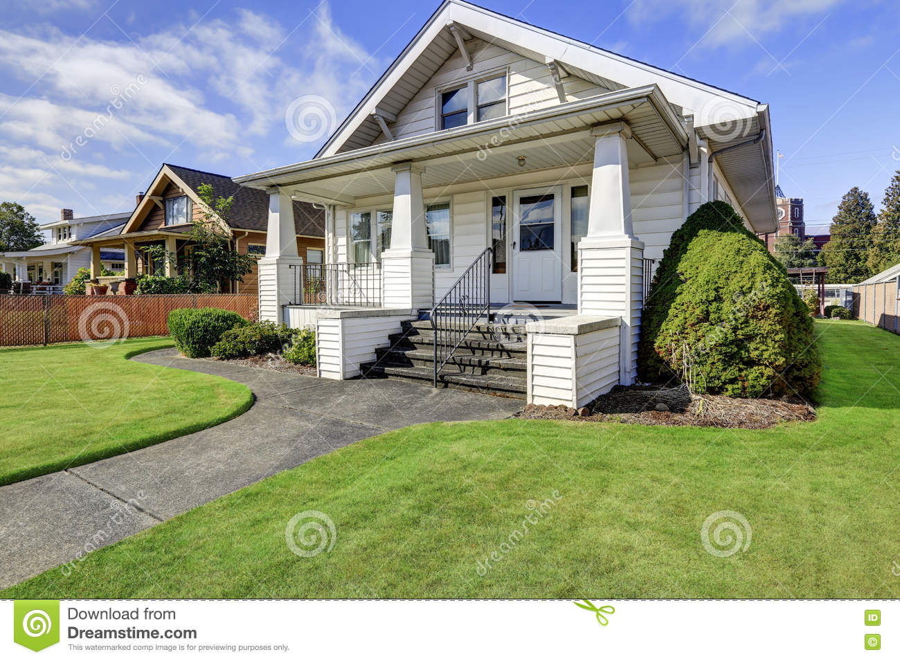 Covered front porch craftsman style home royalty free stock image - Typical American Craftsman Style House With Column Porch Royalty Free Stock Photo
