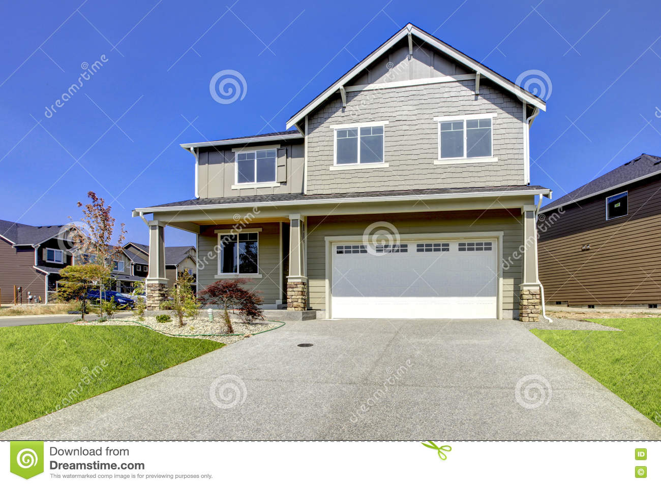 Typical American Northwest Style New Development House Exterior Natural Colors Simple Build 3 4 Bedrooms Homes First Time Home Owners Great Deal