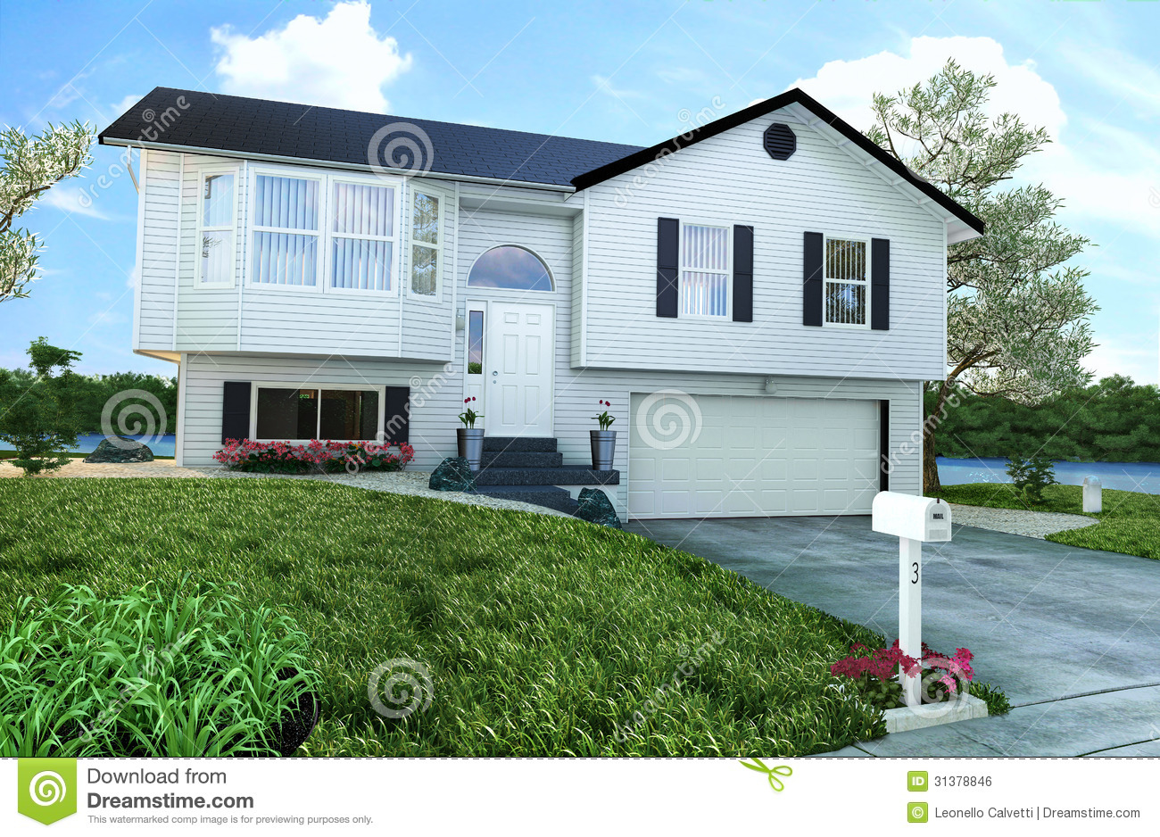 Typical American Wooden House With Garden Trees And A