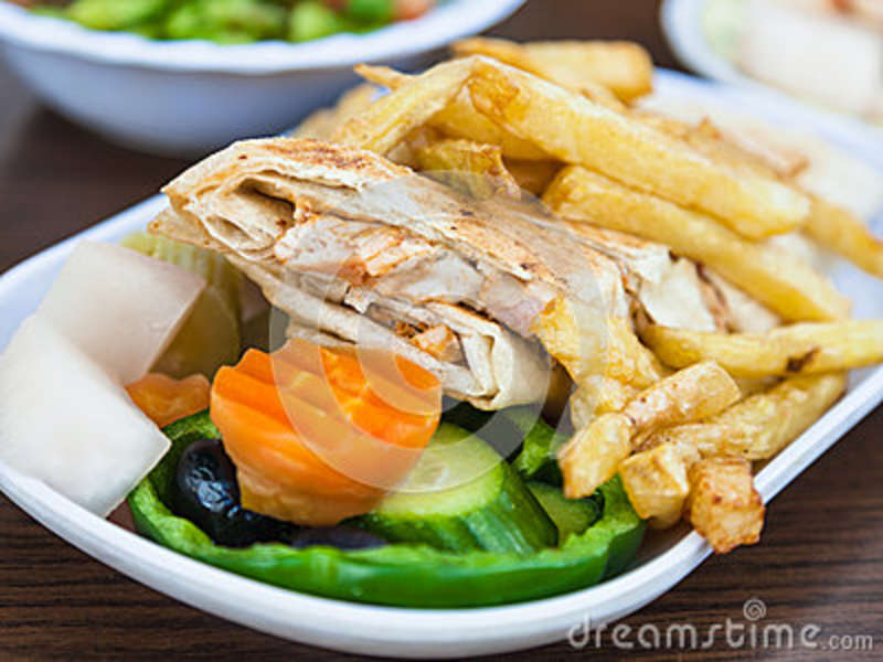 Typical Arabian Fast Food Shawerma With Chicken Stock Image Image