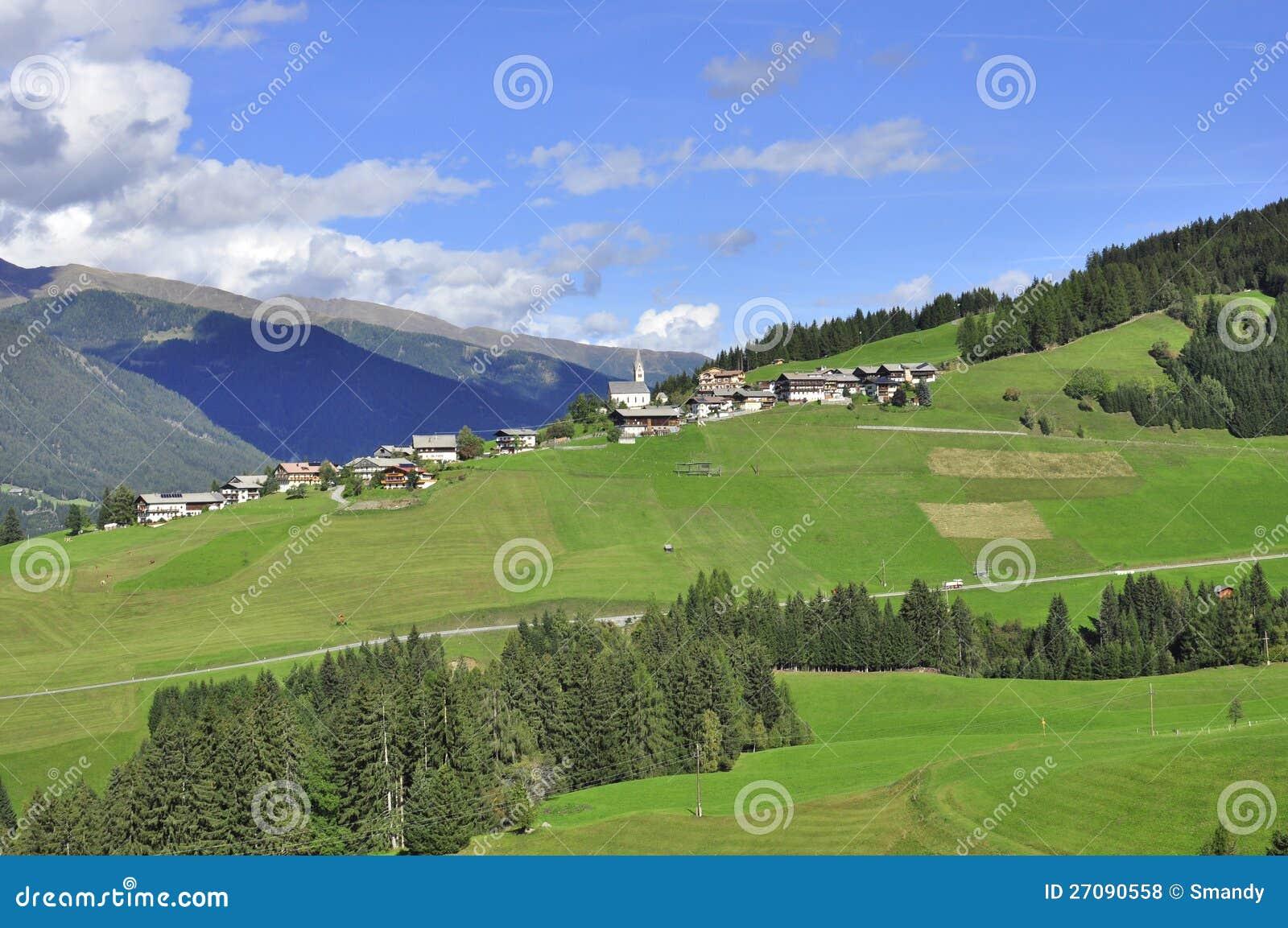 Typical Austrian Village In Tirol, Landscape Royalty Free