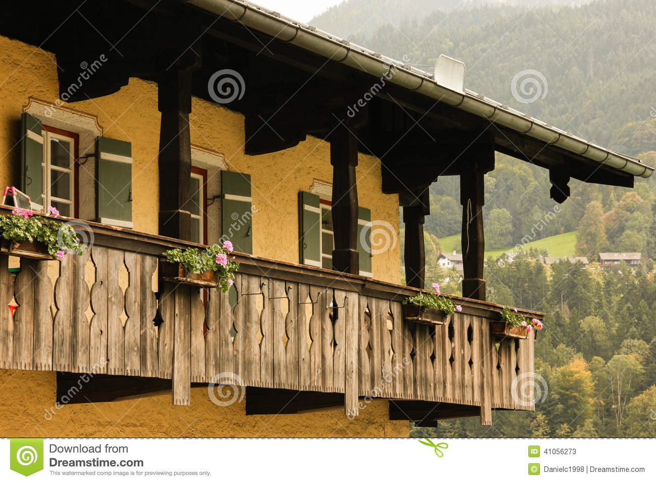 Typical Bavarian House With Wooden Balcony Berchtesgaden