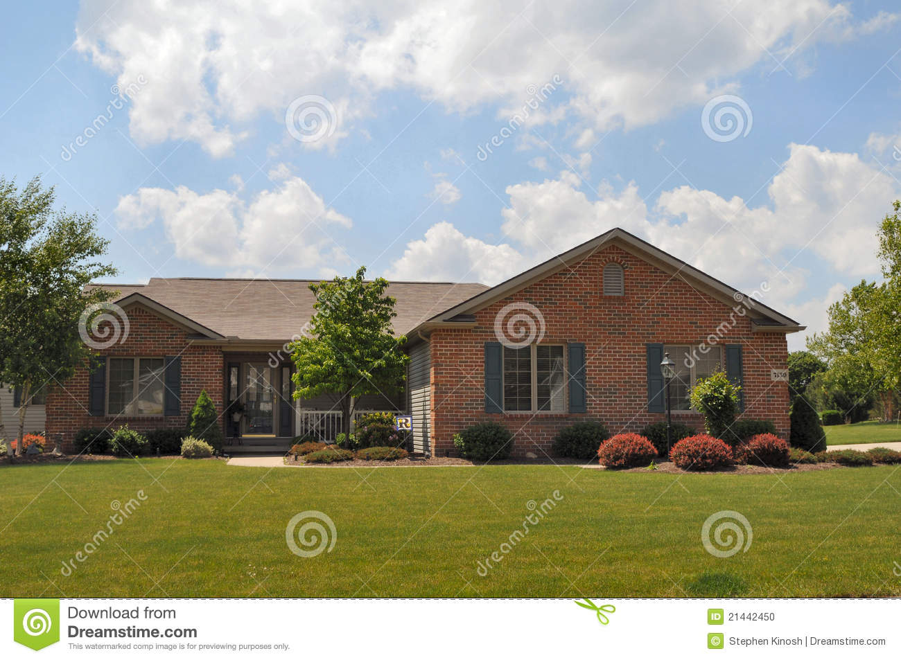 Typical brick ranch style home stock photo image 21442450 for L shaped ranch style homes