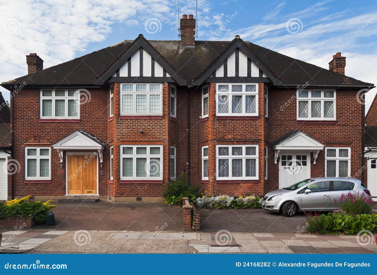 Typical British Brick House London England Stock
