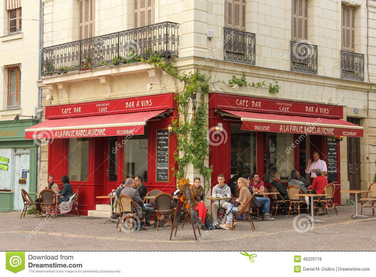 Typical Cafe Bar Chinon France Editorial Stock Photo Image Of Europe Downtown 46229718