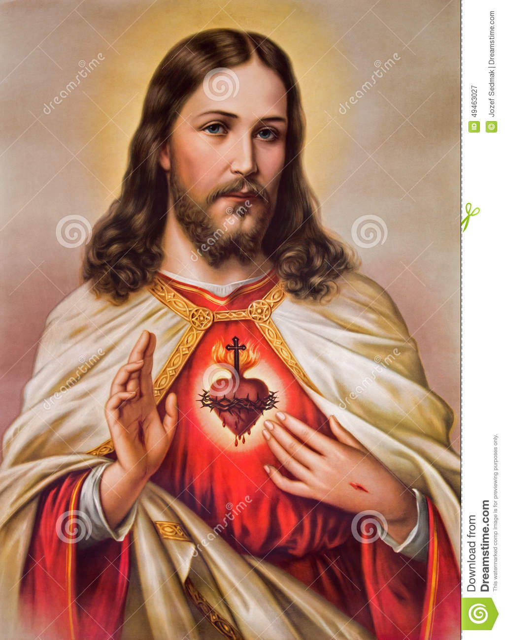 Typical Catholic Image Of Heart Of Jesus Christ Stock