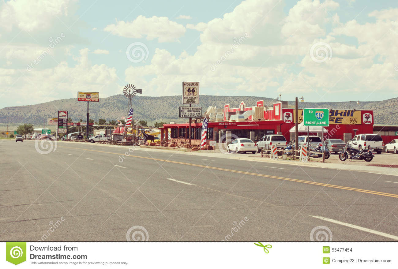 typical city along route 66 in arizona  usa editorial route 66 clip art pics route 66 clip art road signs