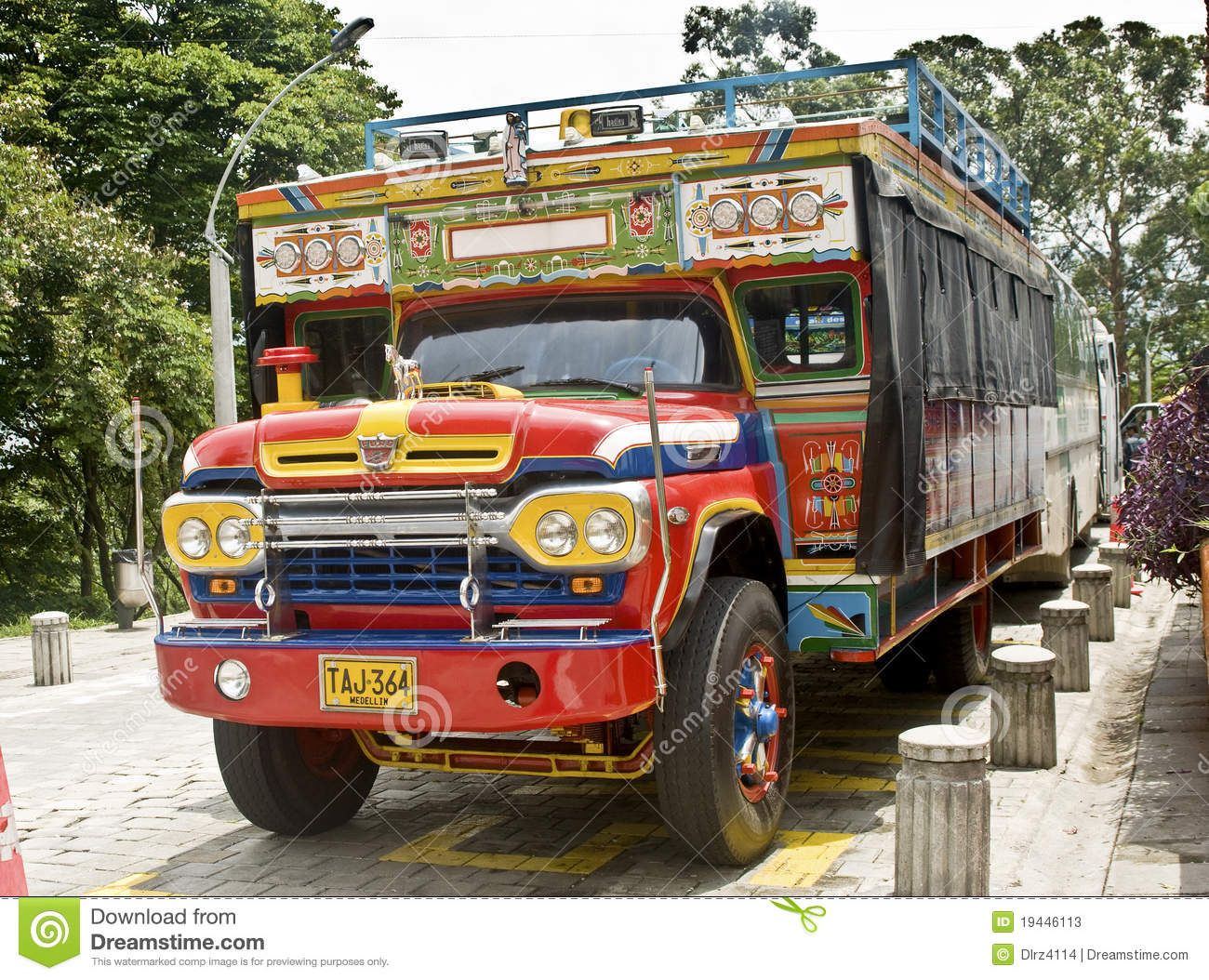 Chiva bus parked on May,2 2010 in Medellin Colombia. Chivas are ...