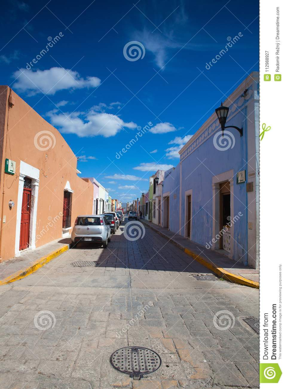 Typical colonial street in Campeche, Mexico.