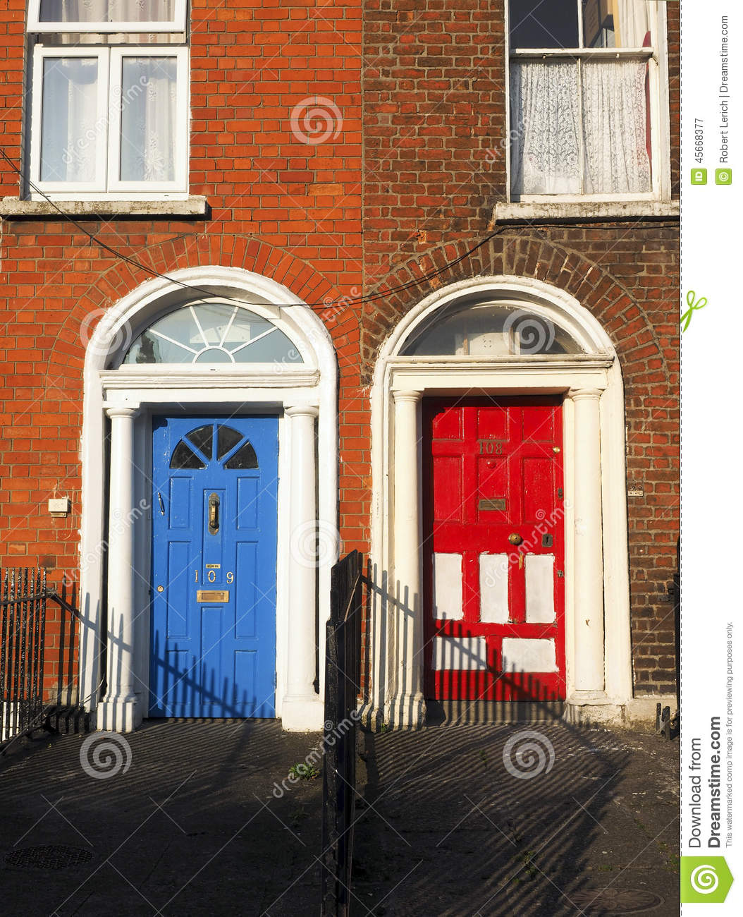 Typical Colorful Doors Houses Dublin Ireland Europe Stock ...