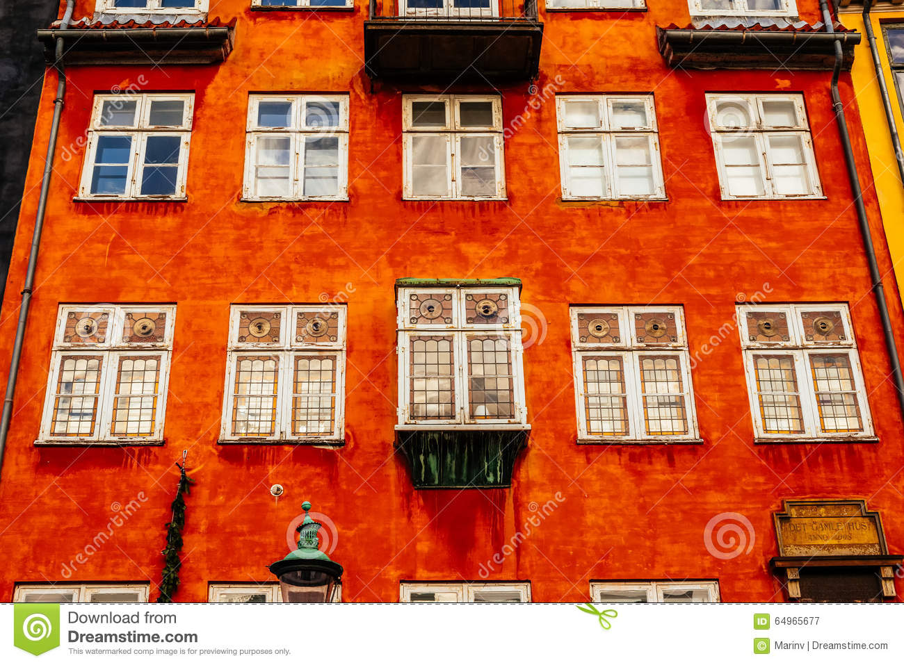 Typical colorful houses and building exteriors in Copenhagen old town