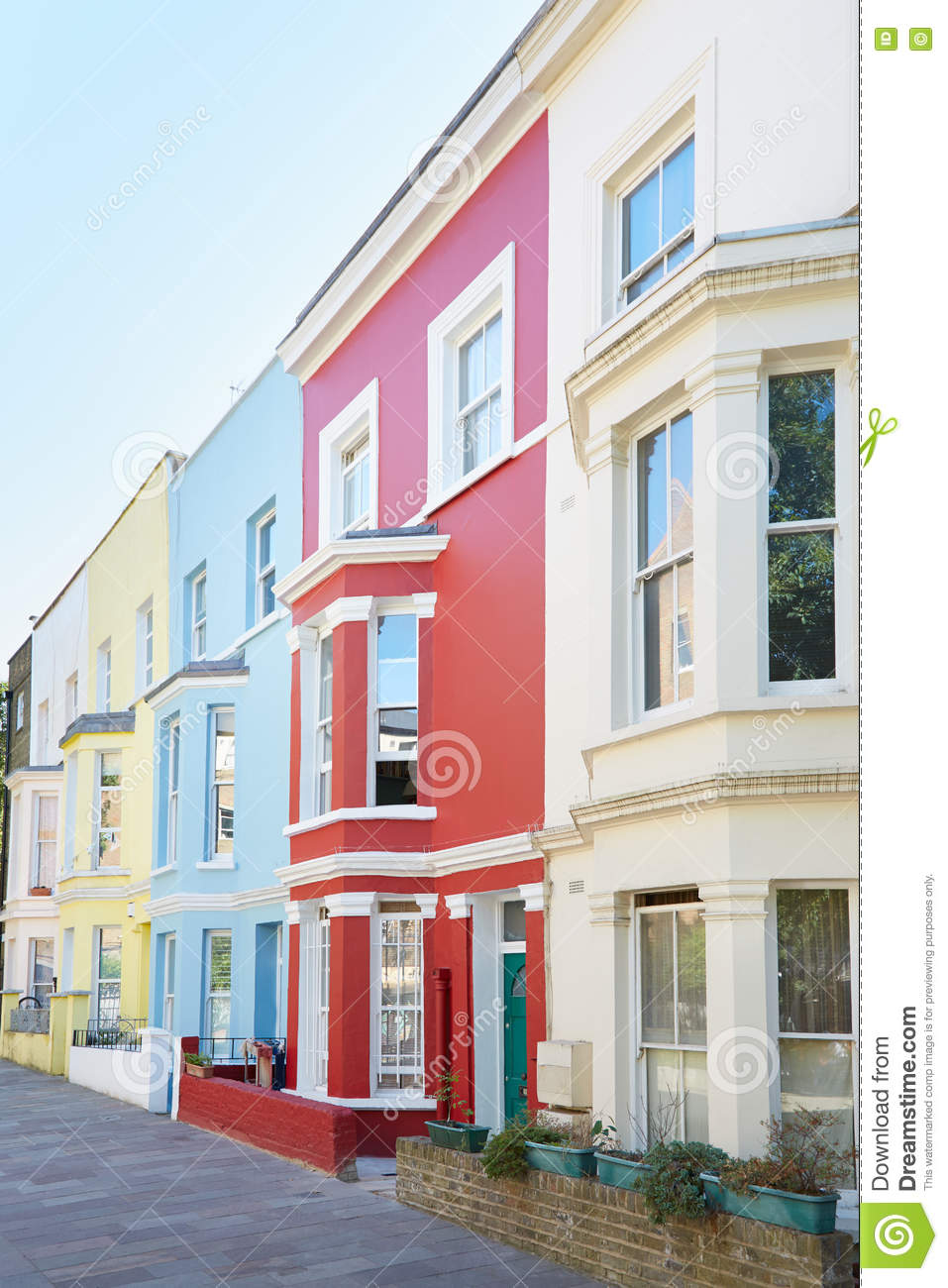 Typical Colorful Houses Facades In London Stock Image - Image of ...