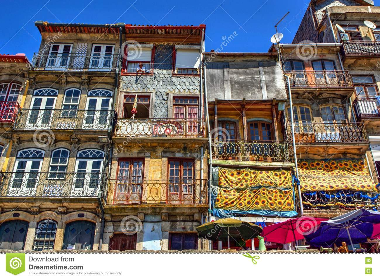 Typical and colorful houses of Ribeira