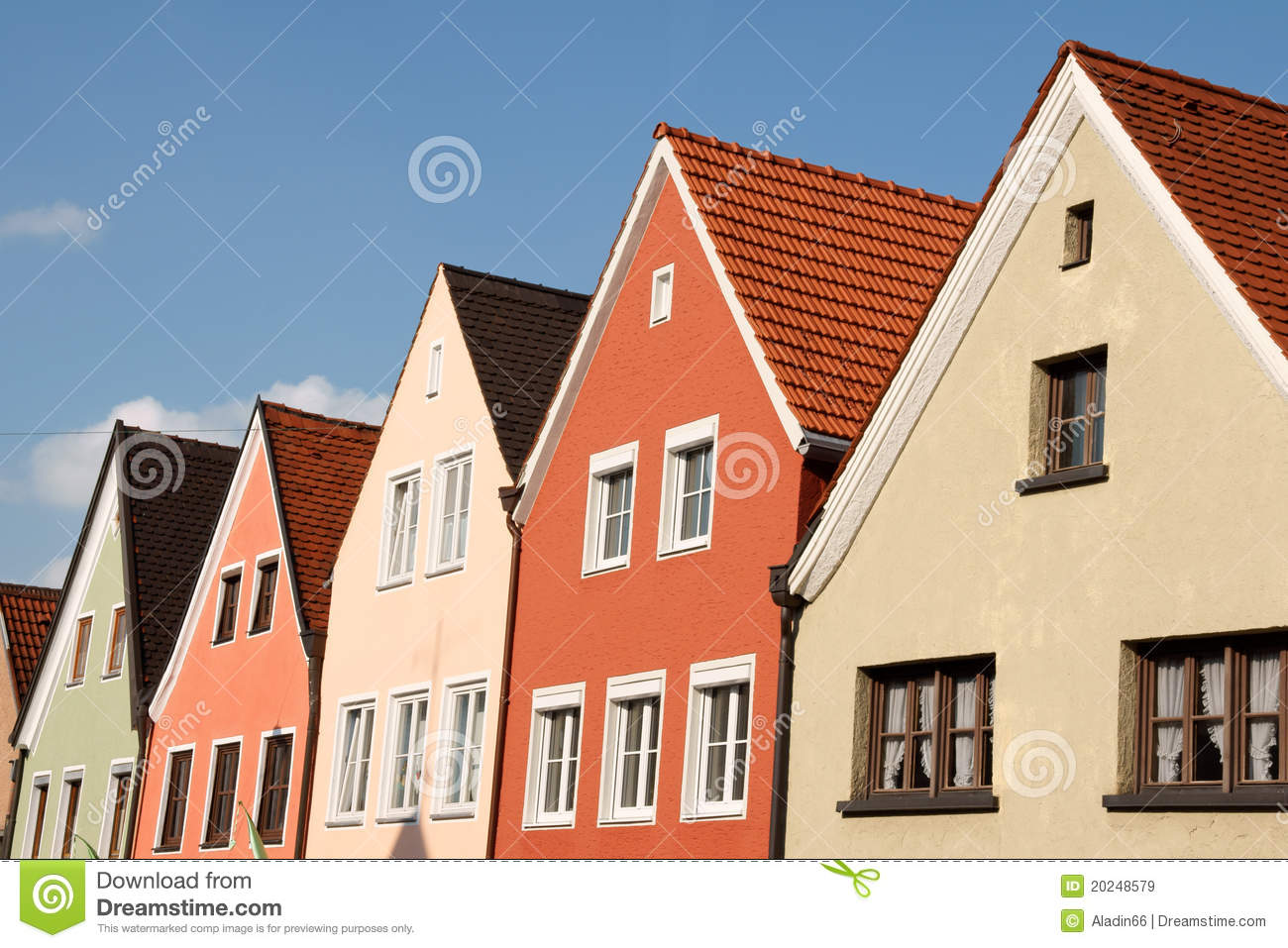 Typical colorful houses in schongau germany royalty free for Small houses in germany