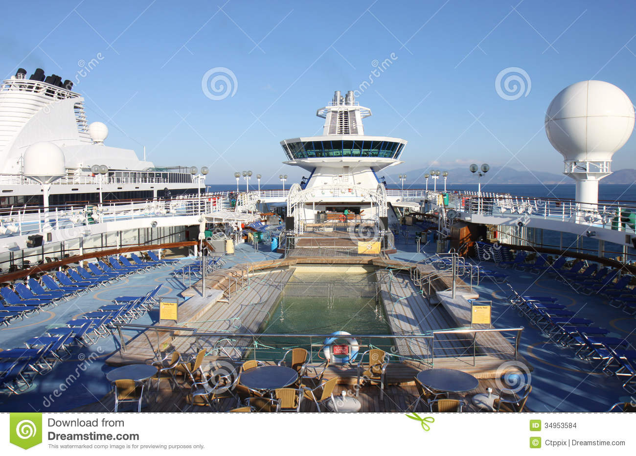 Typical Cruise Ship Deck With Swimming Pool,sunbeds And ...