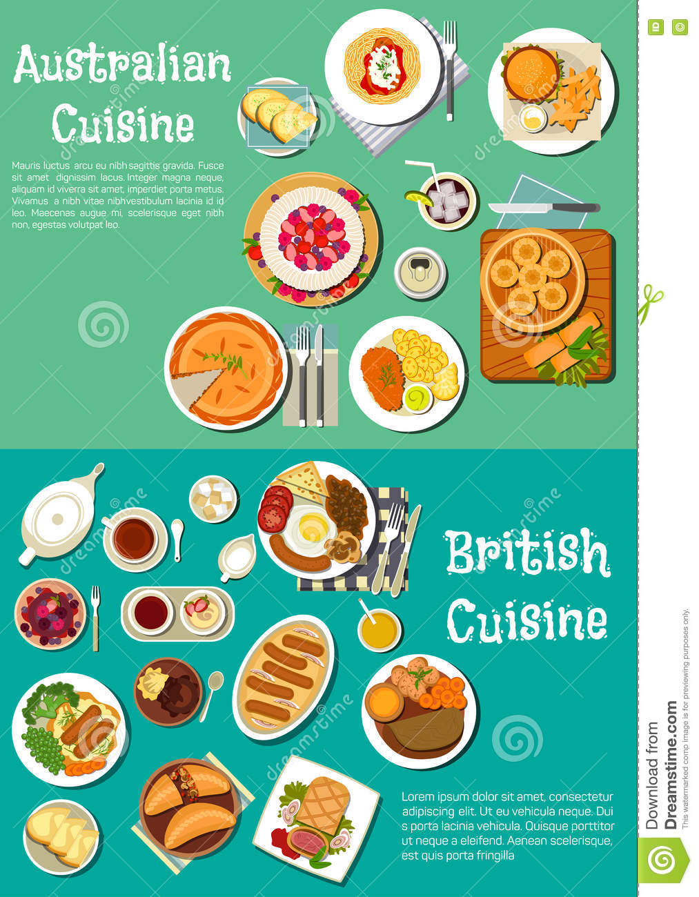 Typical Dishes Of British And Australian Cuisine Stock Vector