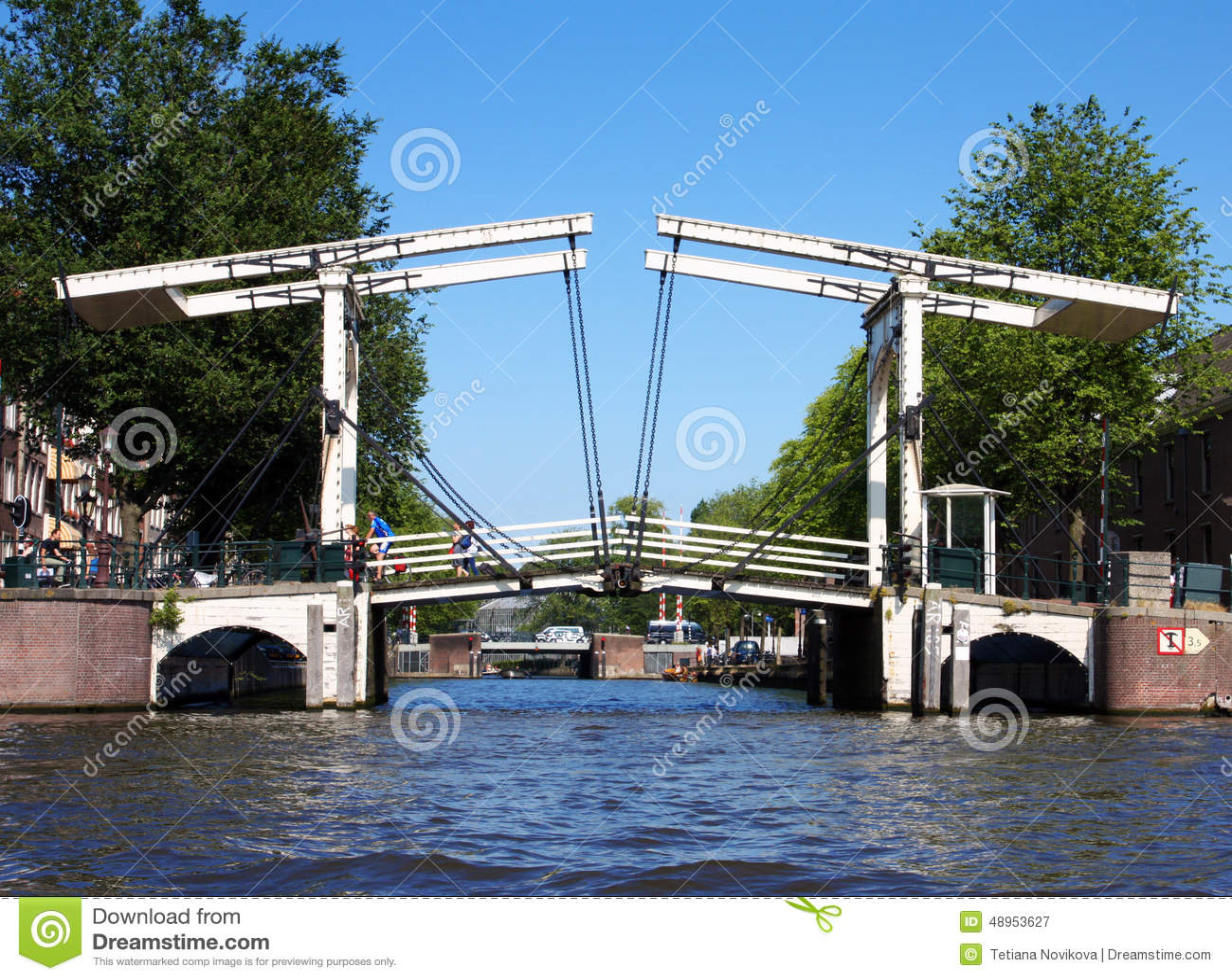 Typical Dutch Bascule Bridge In Amsterdam Editorial