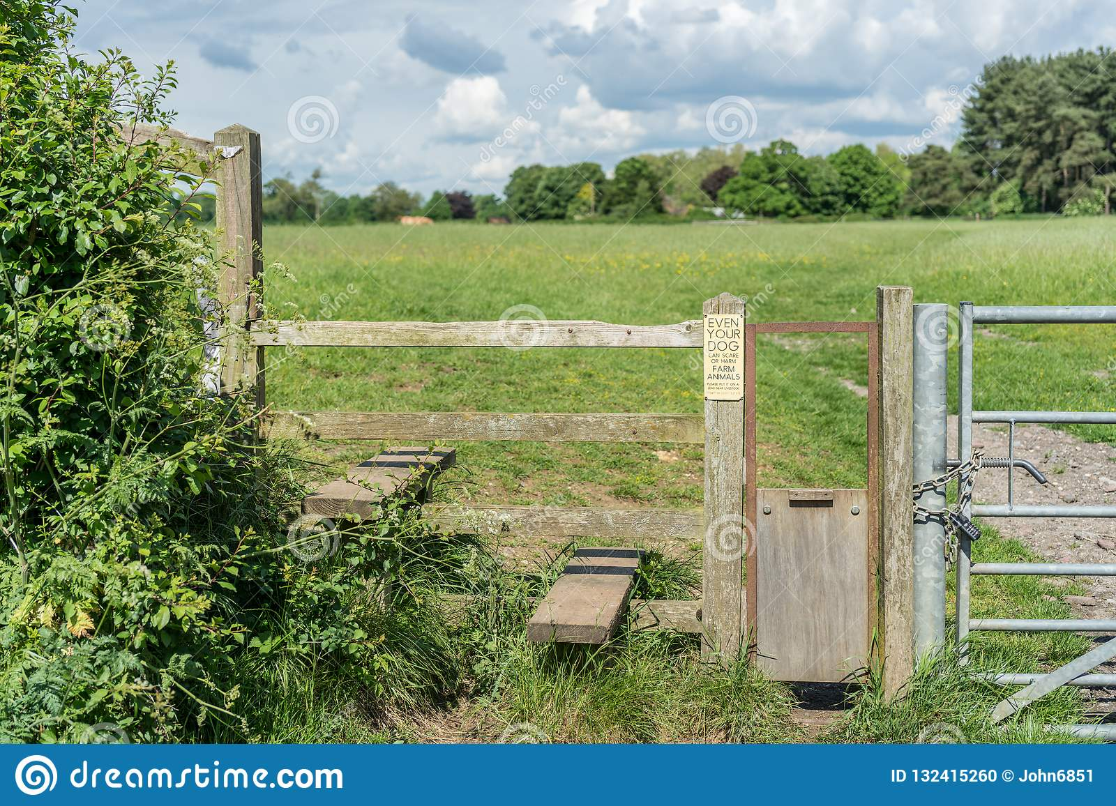 Typical English Country Stile With Dog Gate Gloucestershire Stock