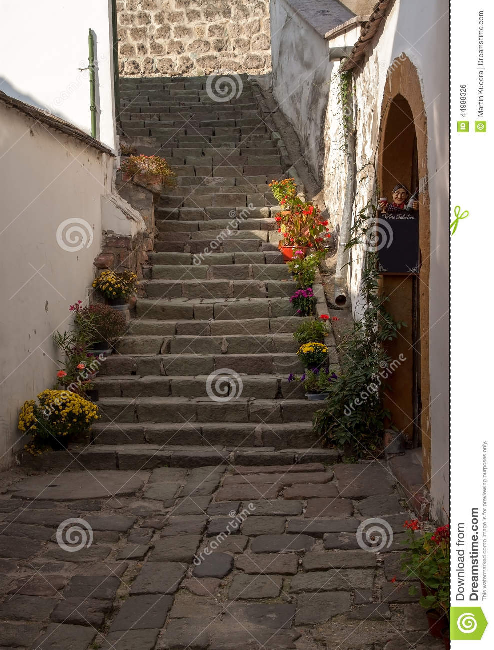 Download Typical European Alley In Szentendre   Beautiful Stairs In A  Narrow Streets, Hungary Stock