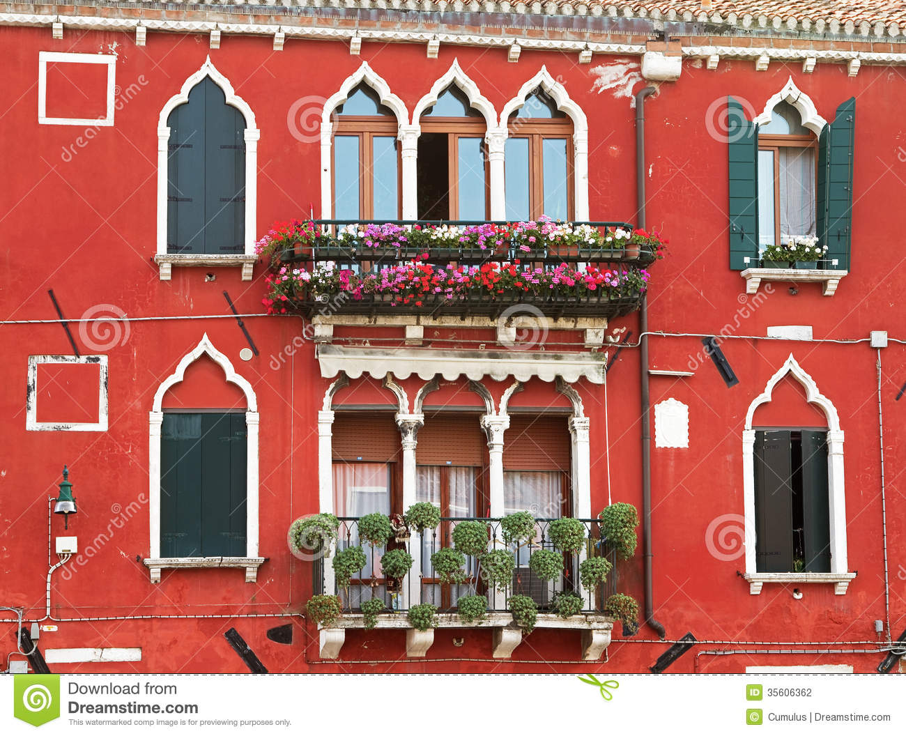 Typical facade in venice with decorative flowers stock Decoration facade