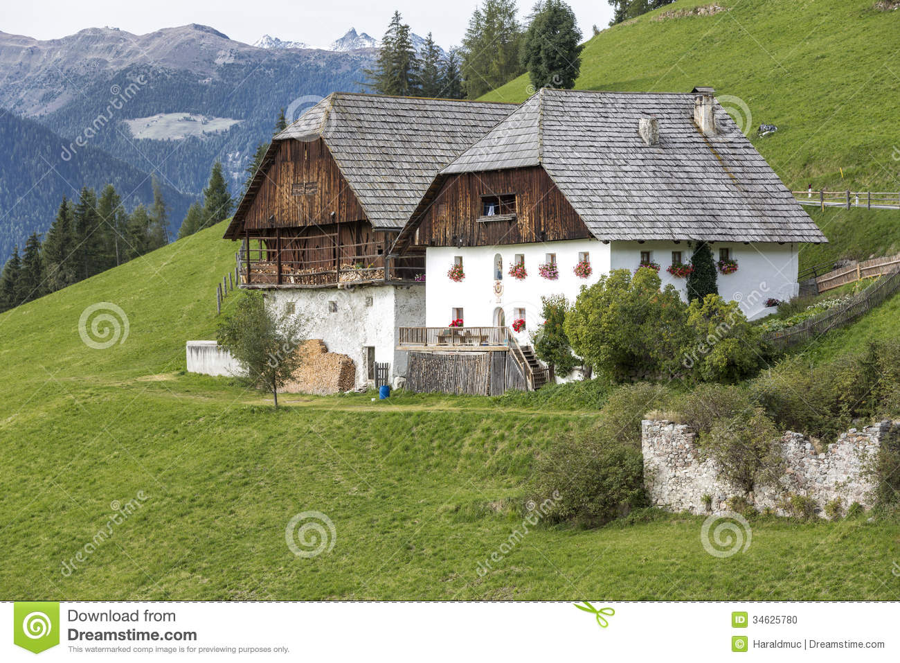 Typical Farm Houses In South Tyrol Italy Stock Photo