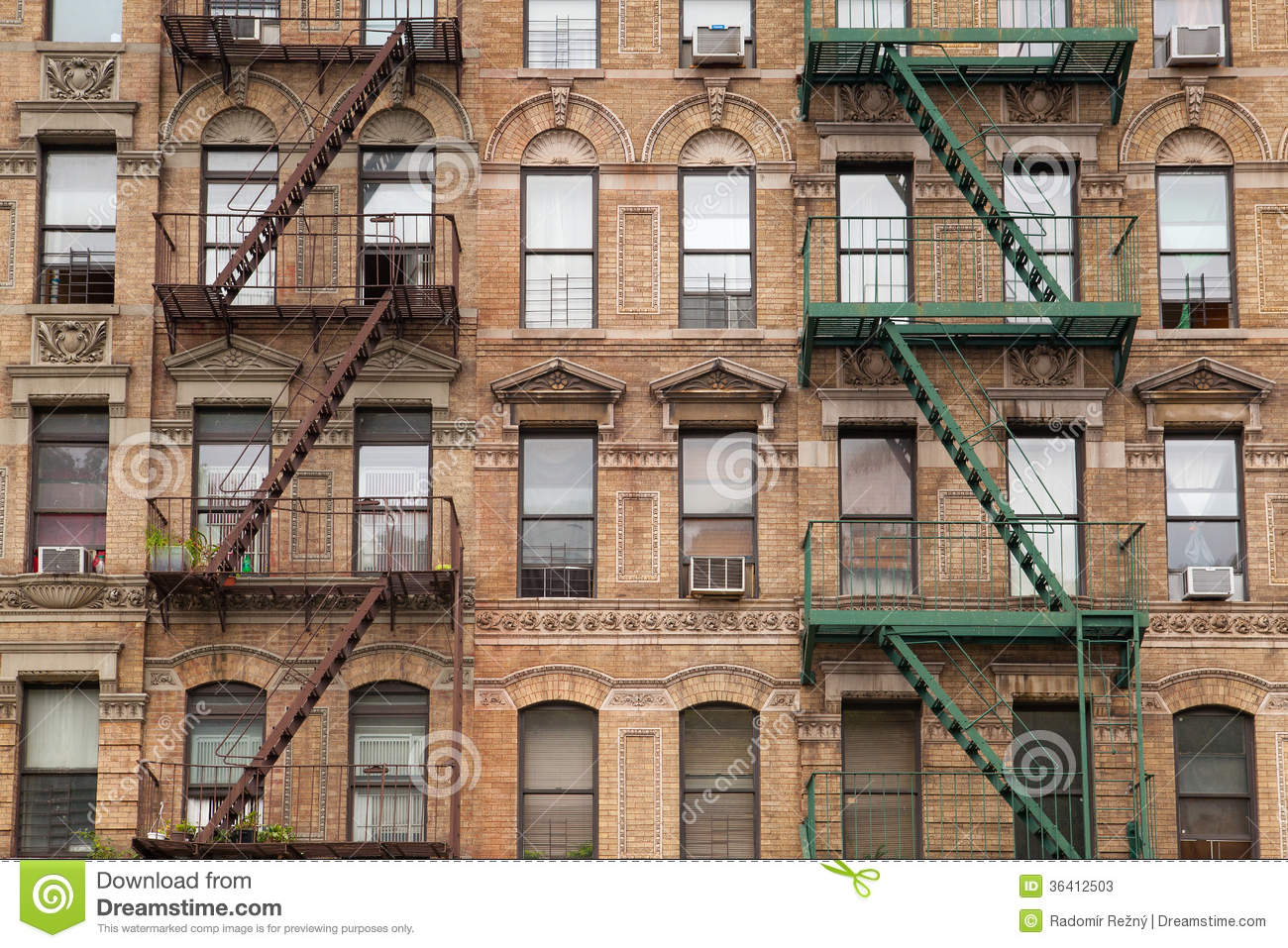 The typical fire stairs on old house in new york stock for Modern house new york