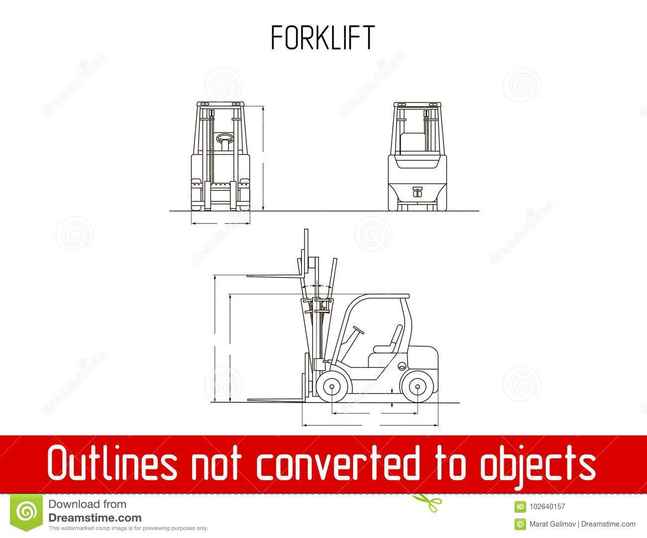 Typical Forklift Overall Dimensions Outline Blueprint