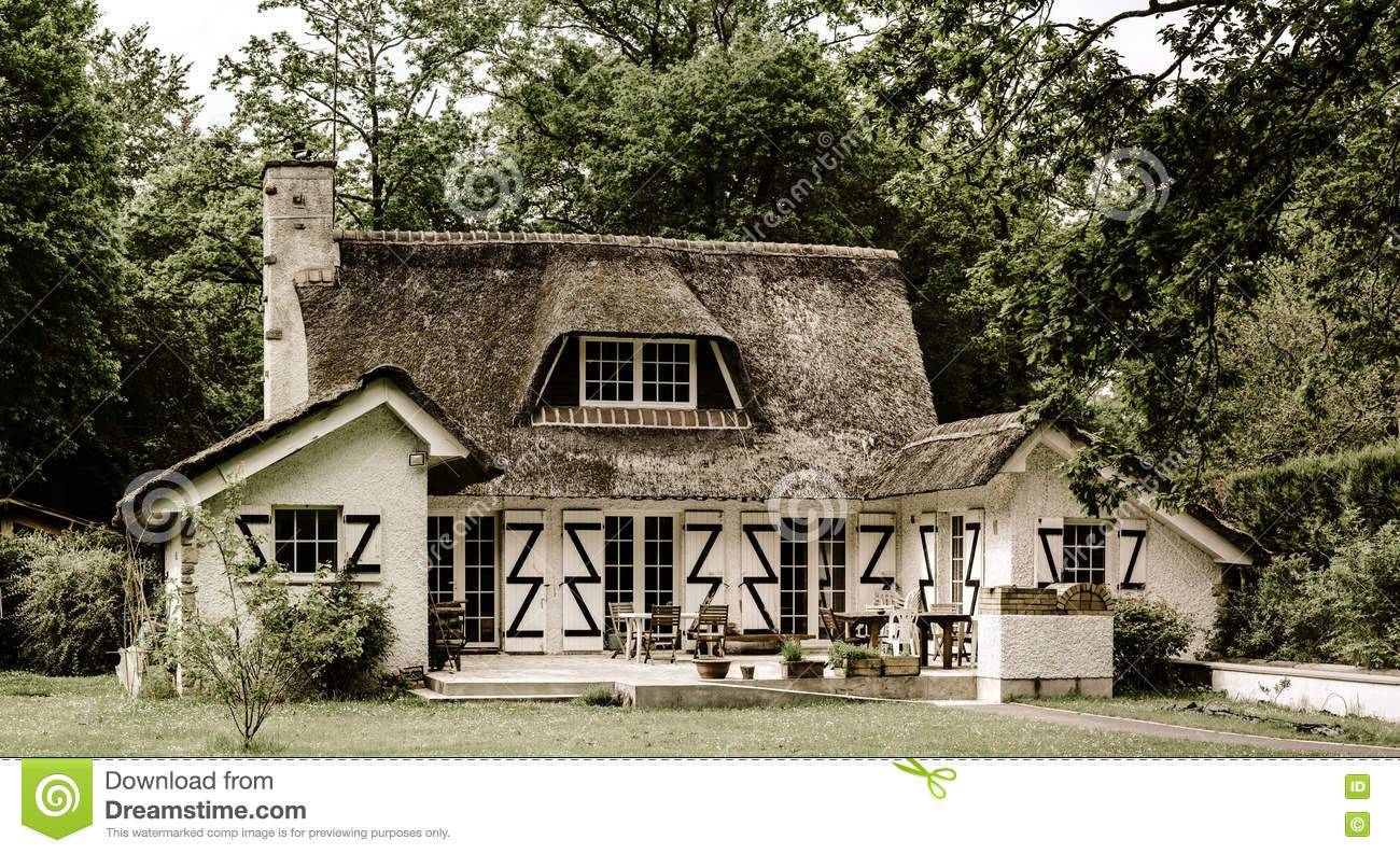 Typical french countryside house with thatch roof stock for French countryside house