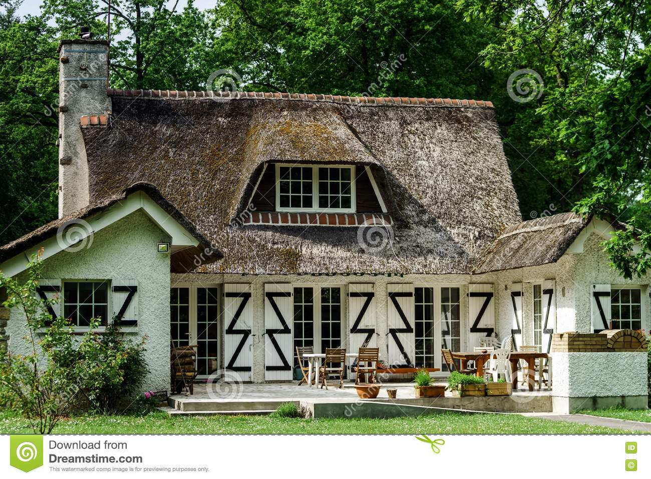 Typical french countryside house with thatch roof stock for French countryside homes