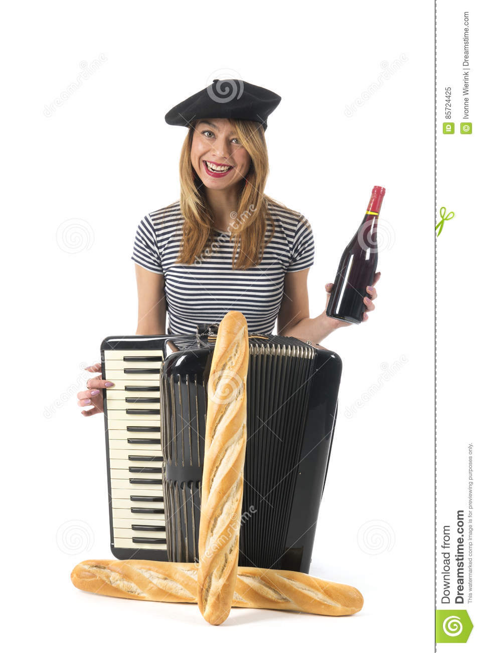 Typical French Girl With Accordion, Bread And Wine Stock