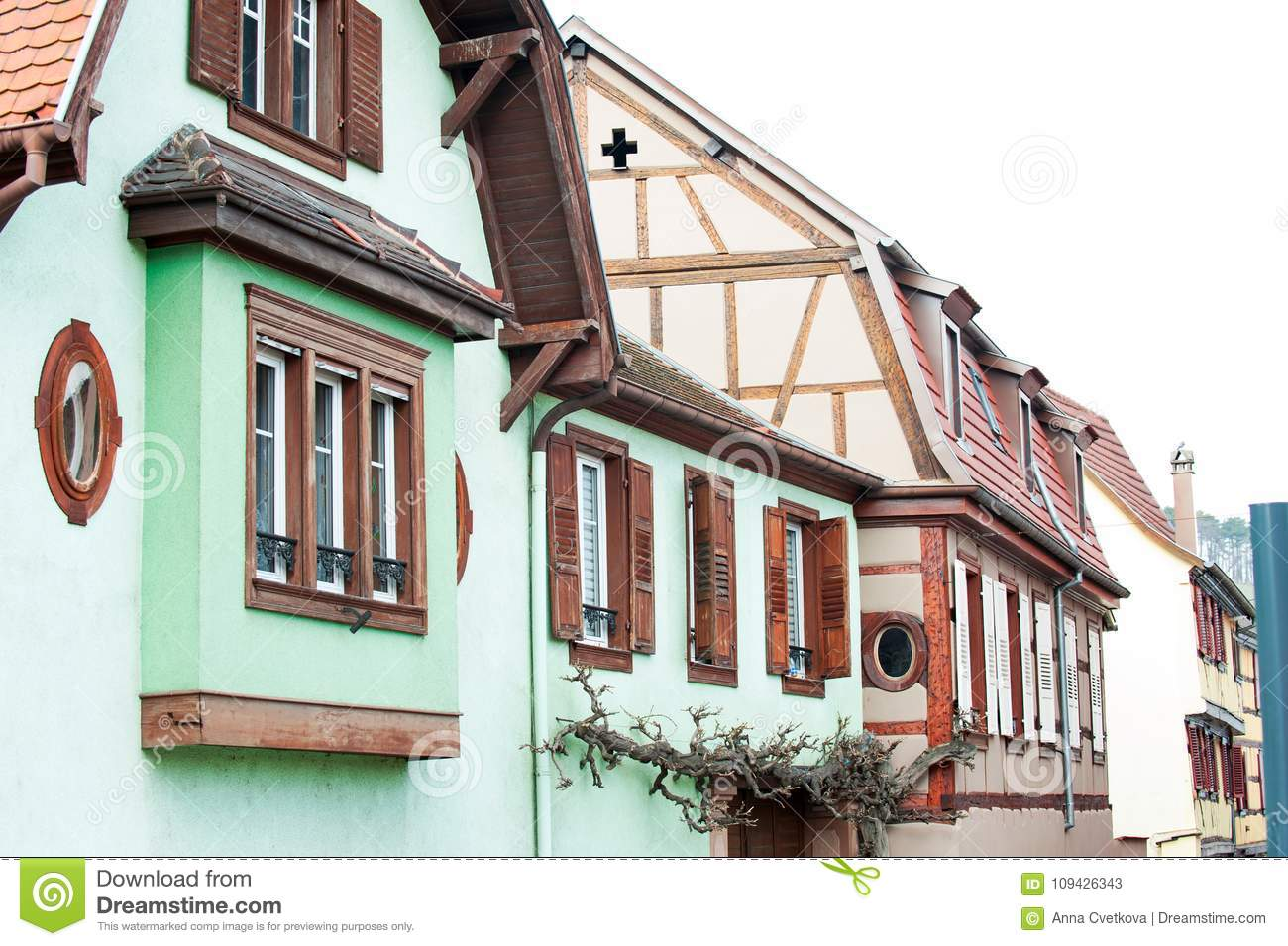 Typical French provencal style multicolored houses with wooden s