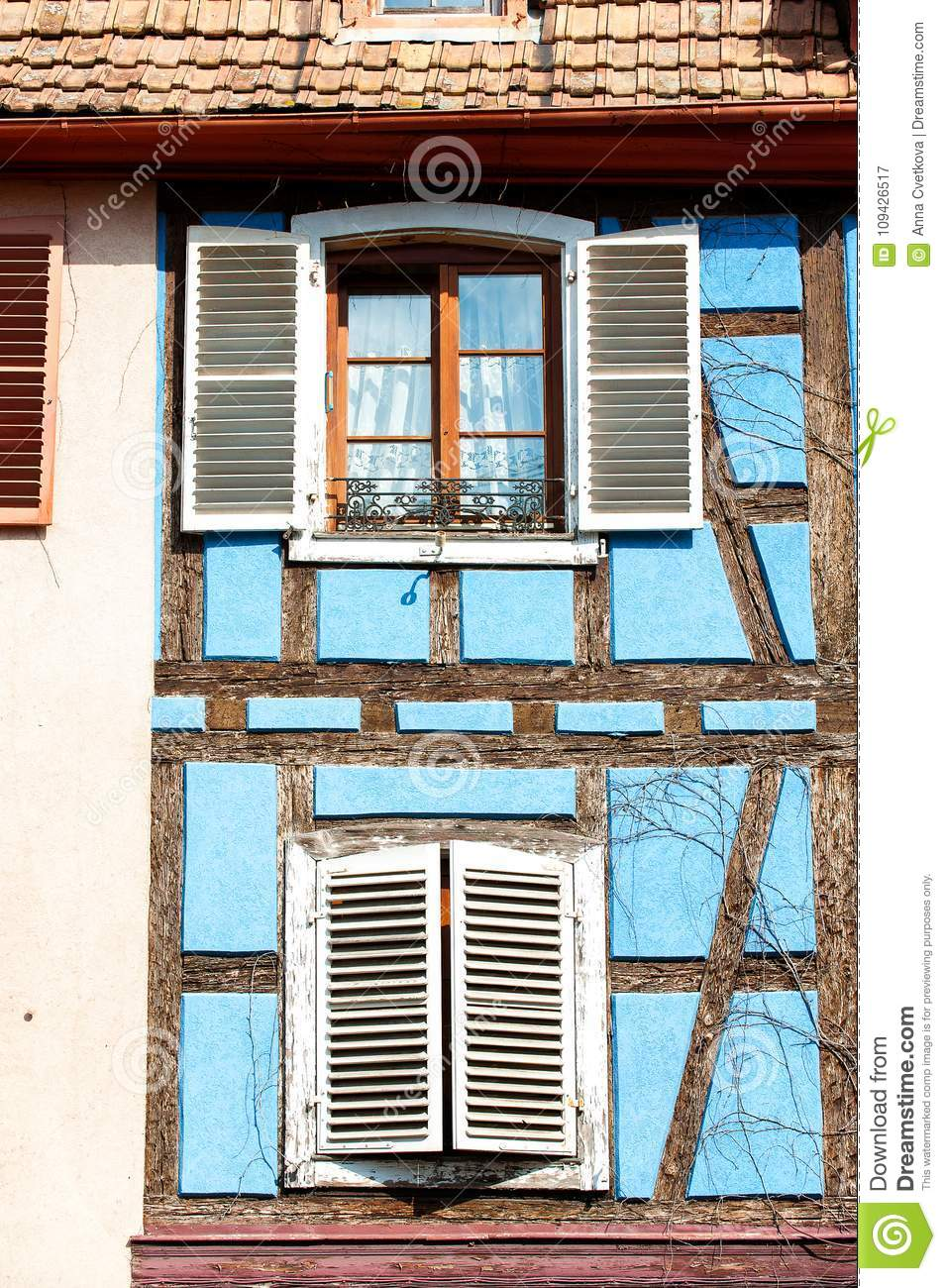 French Provencal Style Blue House With Windows Alsace