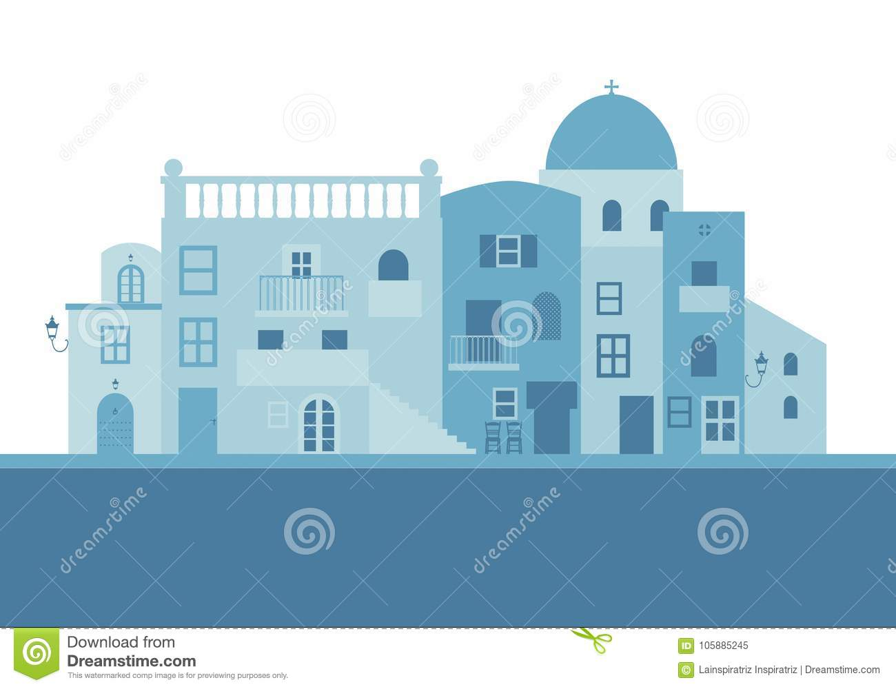 Typical greek island houses in blue on white background stock vector download comp ccuart Image collections