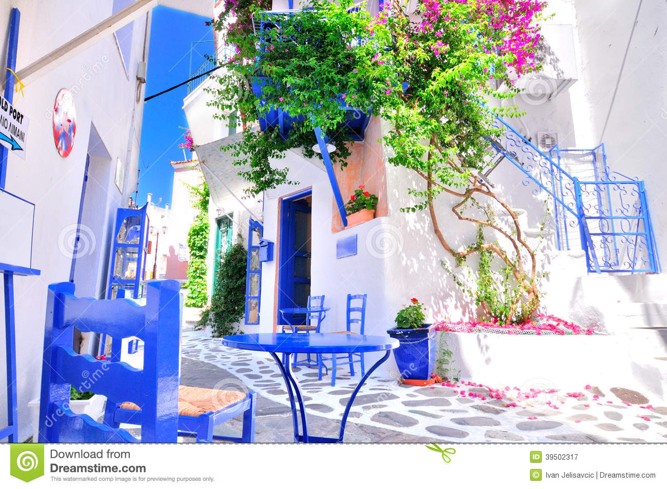 Typical Greek Traditional Village In Summer With White