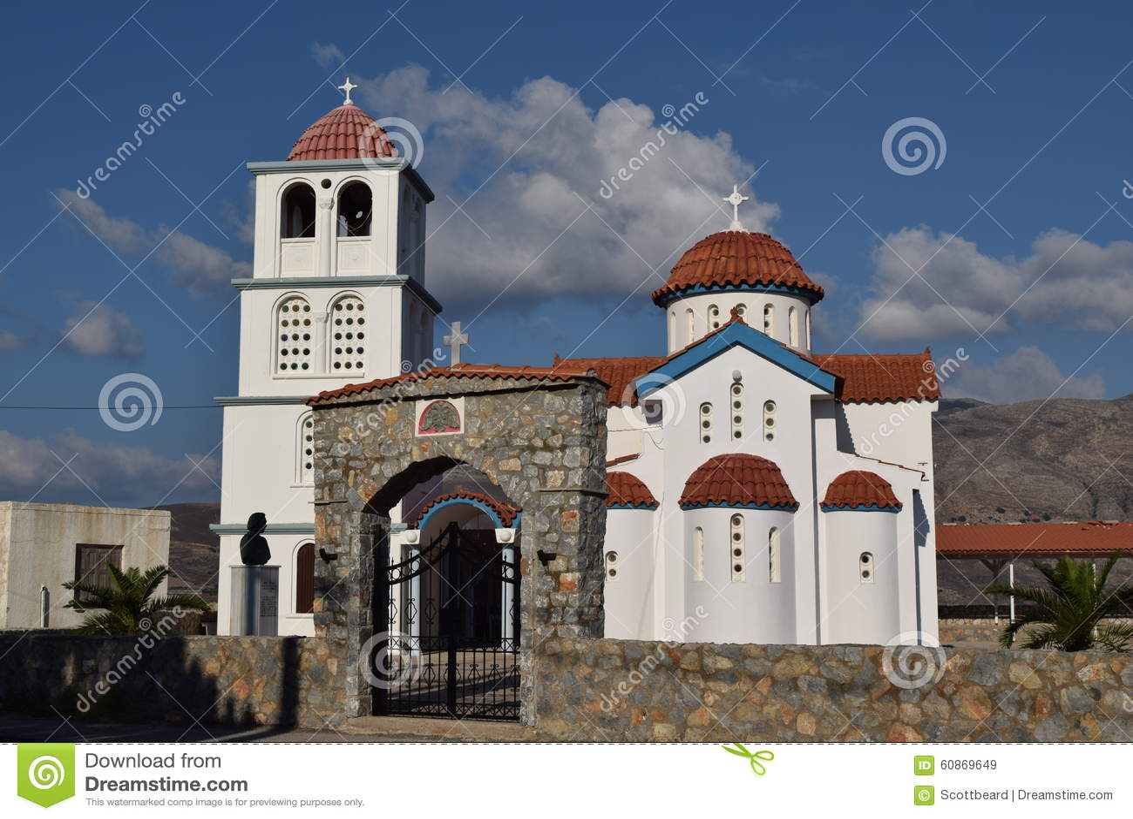 Typical Greek White Church At Kissamos Port Stock Photo