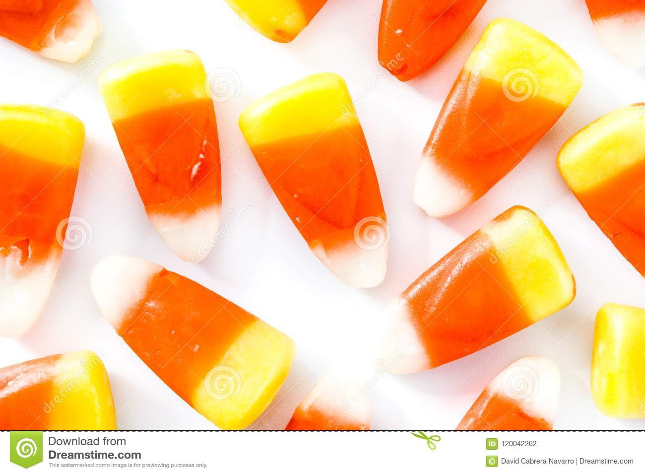 typical halloween candy corn isolated on white background. top view