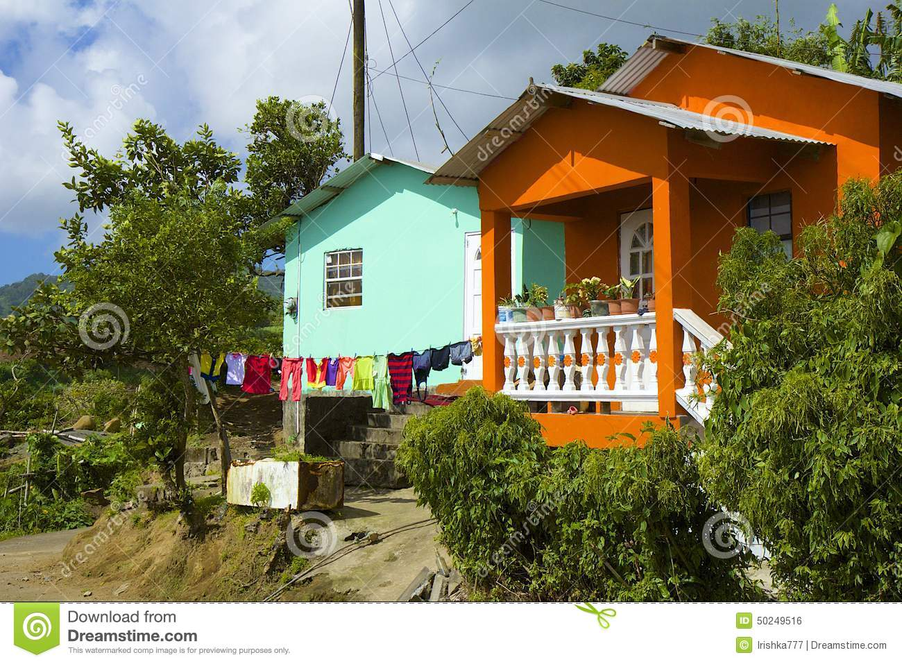 Typical House In St Vincent Panorama Grenadines Stock