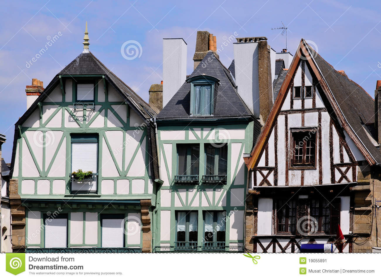 Typical Houses Of Auray In France Stock Image Image