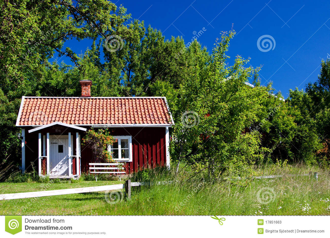 Typical idyllic cottage in Sweden .