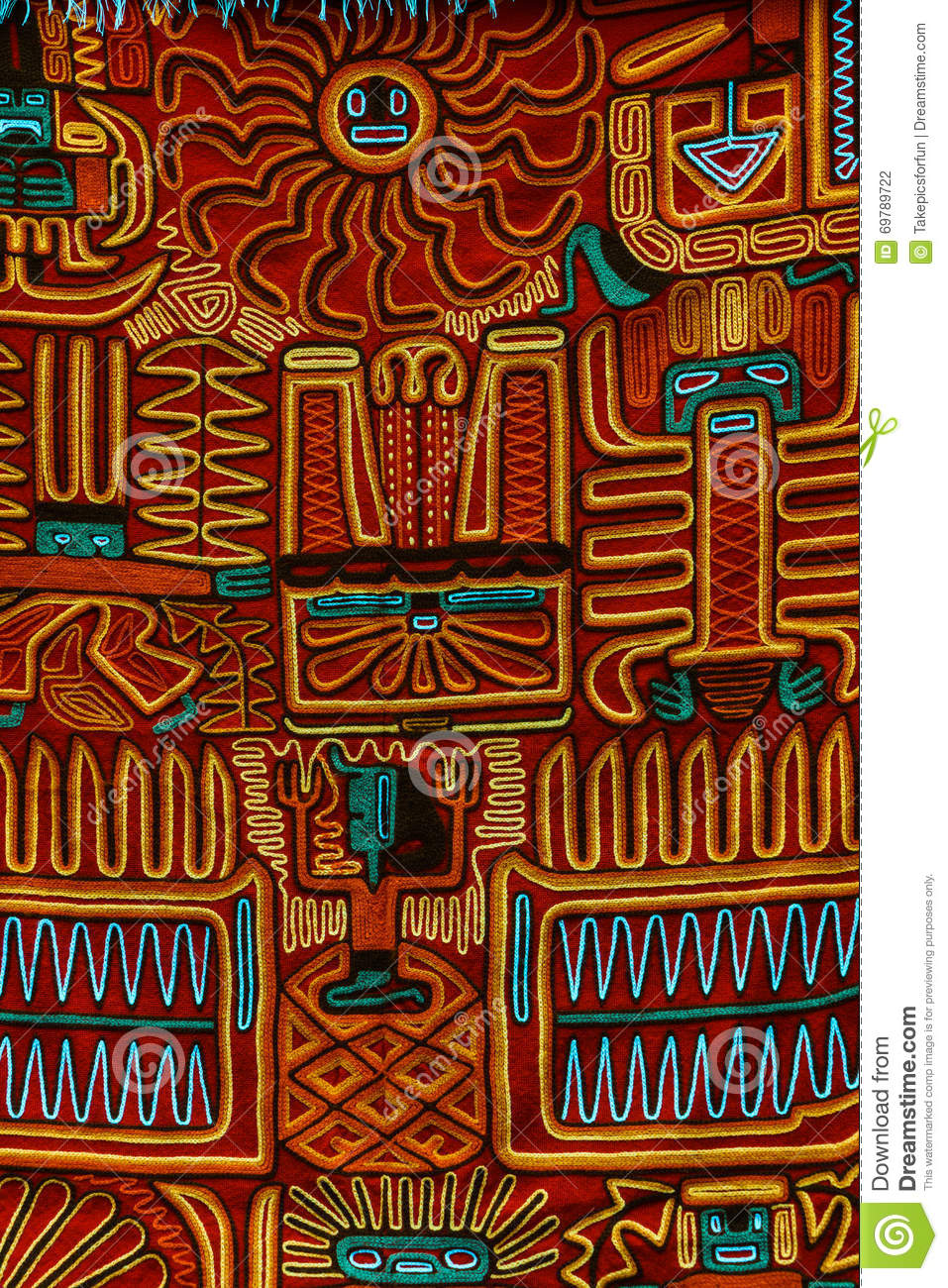 Typical Inca Style Cloth Pattern Stock Photo Image Of