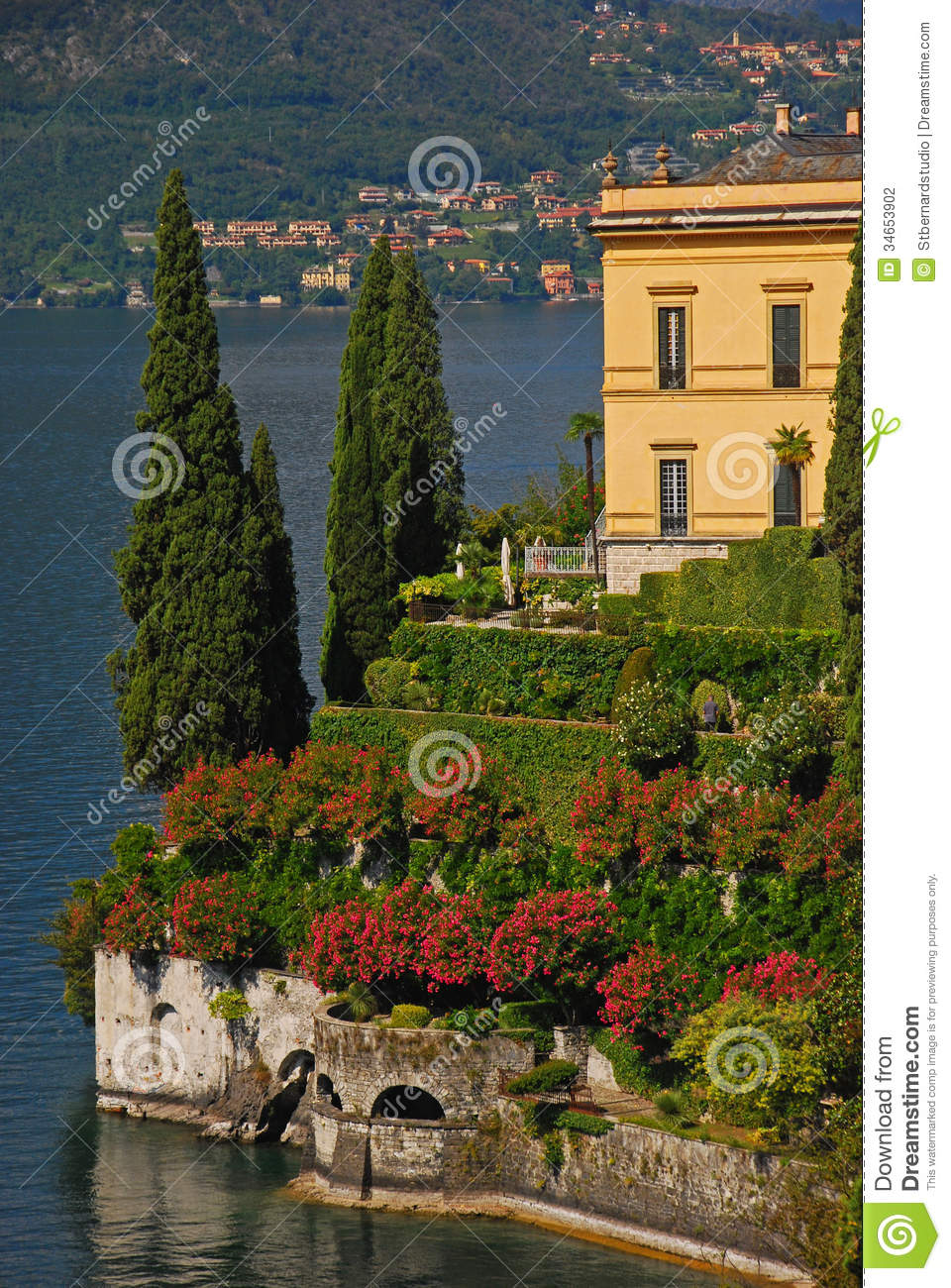 Typical lakeside mansion in varenna lake como stock for Green italy